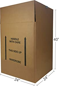 "AmazonBasics Wardrobe Clothing Moving Boxes - 24"" x 24"" x 40"", 6-Pack"