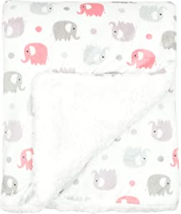 """Large Ultra Soft Gray and Pink Elephant Minky Baby Blanket for Girls by Everyday Kids; Mink and Sherpa Toddler and Baby Girl Blanket Measures 30 x 40""""; Trendy Animal Elephant Baby Nursery Decor"""