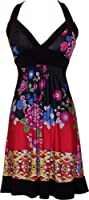 PacificPlex Asian Floral Halter Dress Knee-Length, Black Multi, X-Large