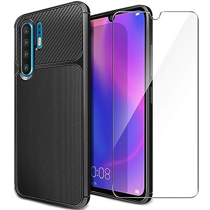 Funda Huawei P30 Pro Carcasa + HD Protector de Pantalla, Negro Textura Fibra de Carbono Delgado Silicona Suave TPU Funda Gel Case Antideslizante ...
