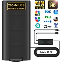 Indoor Outdoor HD Digital Amplified TV Antenna 200 Miles Range,Digital TV Antenna with 33ft Long Coax Cable Support 4K…