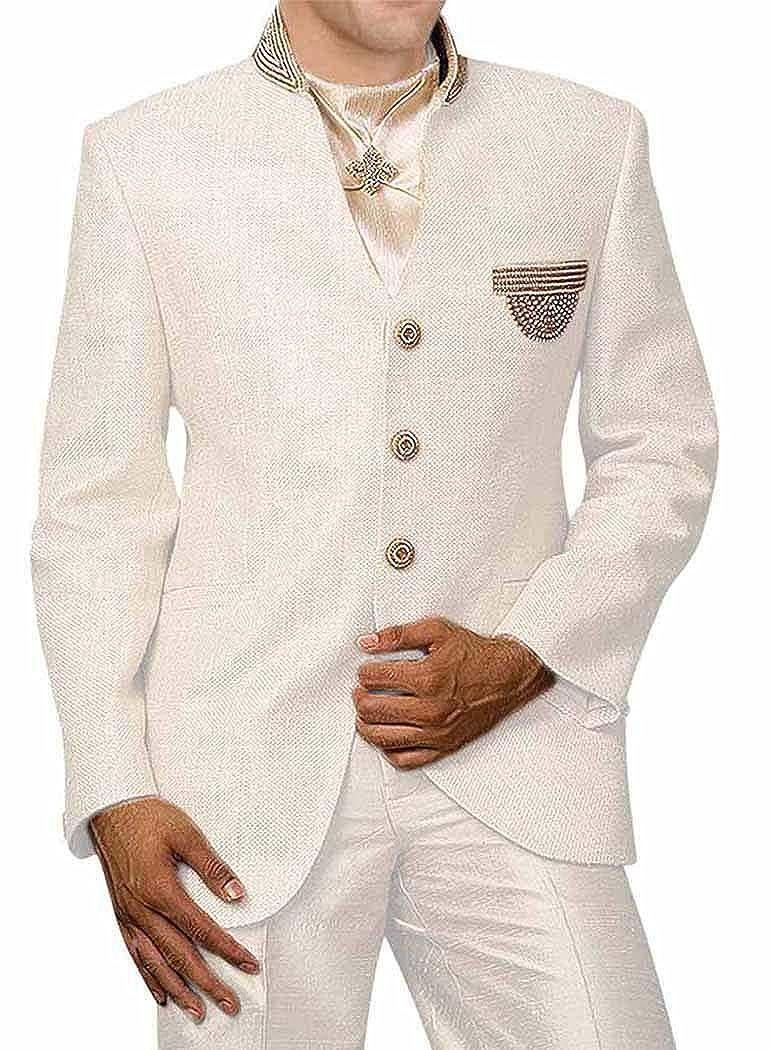 CREAM INMONARCH Mens Cream 4 Pc Jodhpuri Suit Embroidered JO0342