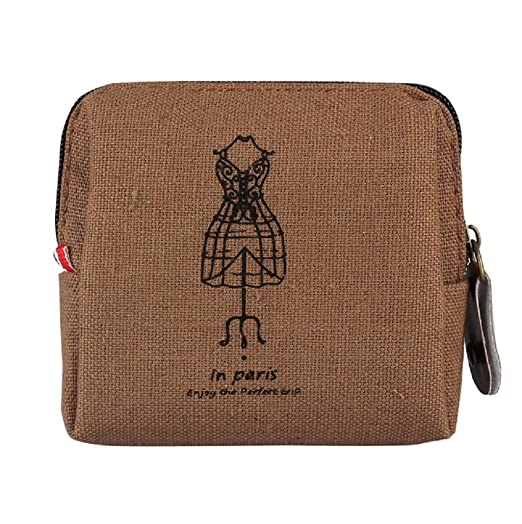 Sannysis® Mini Retro bolsa con monedas; Tarjeta Monedero del bolso de la caja; Regalo Torre Eiffel monedero (Café)