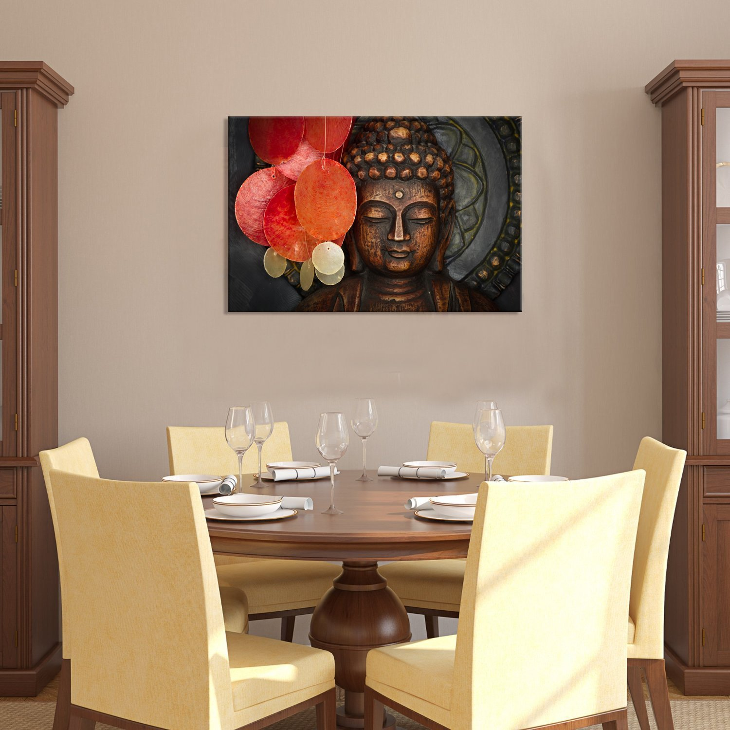 Amazon Buddha Canvas Wall Art Wood Statue Prints Keep Inner Peaceful Artwork For Living Room Yoga Posters