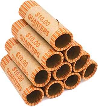 Shotgun Rolls 5 Cent nickels 100 Nickel Paper Coin Wrappers Pre-Crimped 1 End