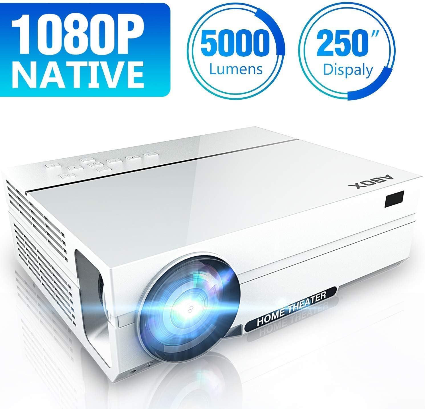 [Actualizado] Proyector Full HD 1080p Nativo, Soporta 4K, 5000 Lúmenes, ABOX LED Proyector, Resolución Nativa 1920 * 1080P, Proyector de Vídeo para Cine en Casa de 250
