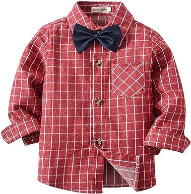 LAPLBEKE Bebè Niños Camisa de Cuadros Manga Largos con Botones Shirt Tops Algodón Blusa: Amazon.es: Ropa y accesorios