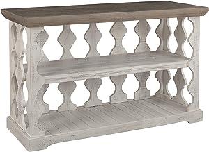 Signature Design by Ashley - Havalance Farmhouse Console Table w/ Shelf, Whitewash/Brown Wood