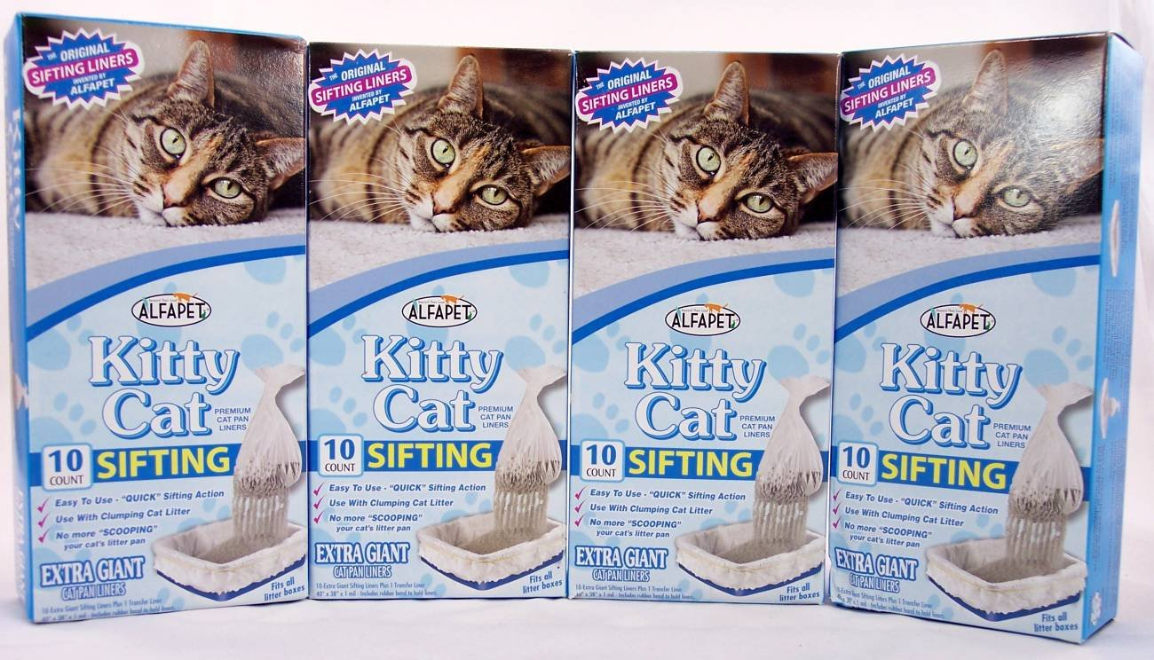 Kitty Cat Sifting Litter Box Liners- 10 per Box Plus 1 Transfer Liner per Box- 40 in X 38 in (4 Pack Boxes)