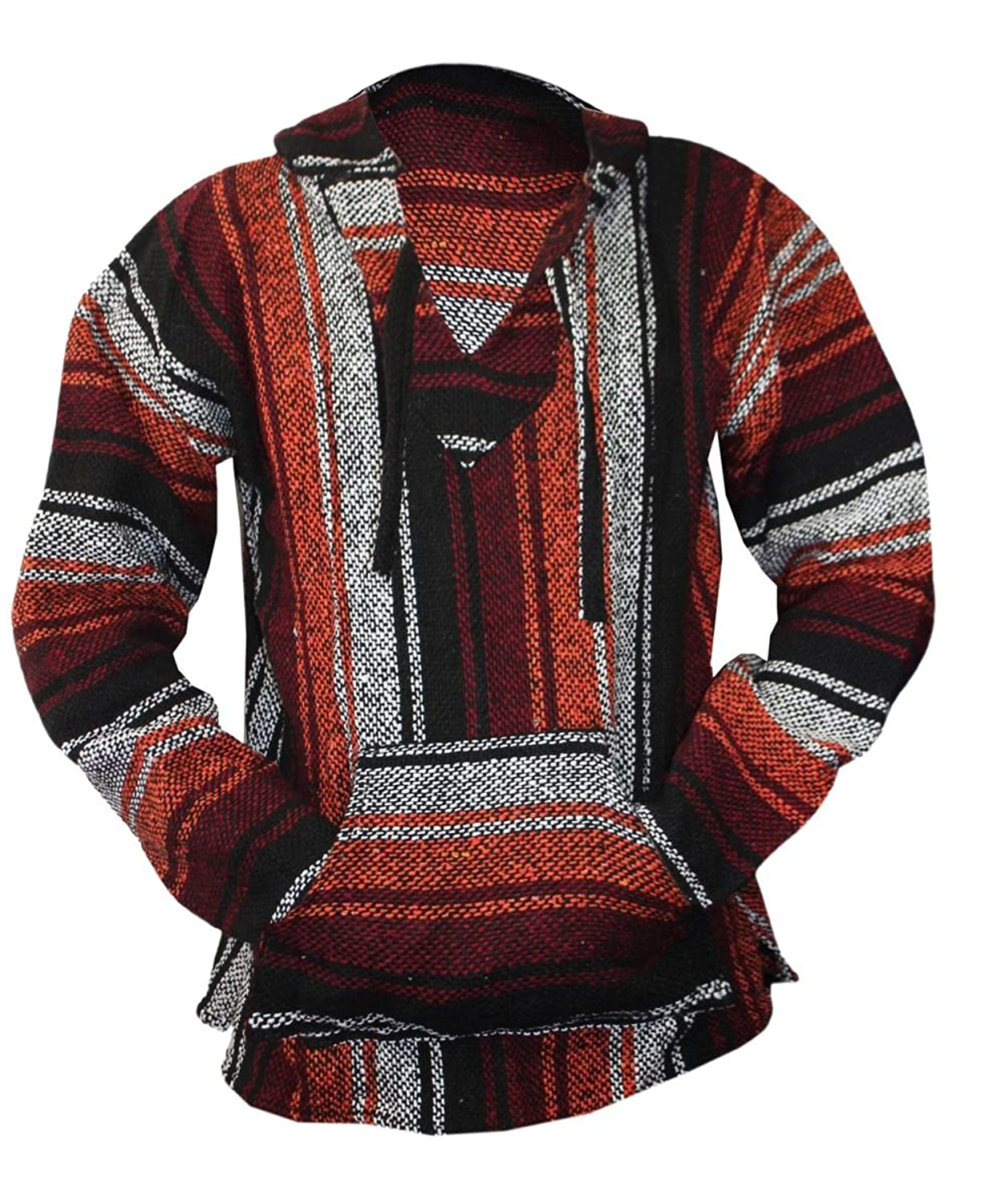 Amazon.com: Mexican Baja Hoodie Sweater Jerga Pullover Burgundy ...
