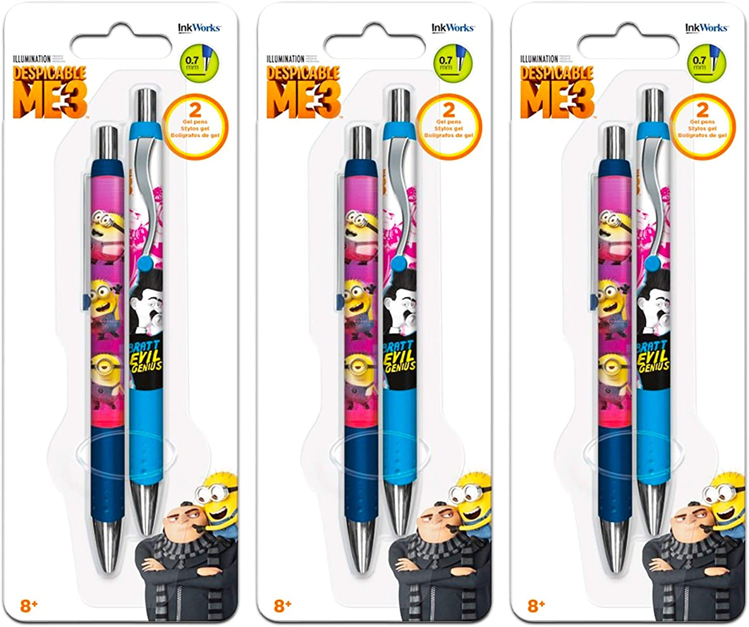 Despicable Me Pens Value Bulk Pack - 6 Despicable Me Gel Pens (Despicable Me School Supplies, Office Supplies)