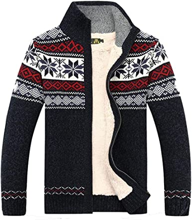 Mens Knitted Cardigan Sweater Coat Warm Knit Top Coat Christmas Mens Fashion Winter 2019