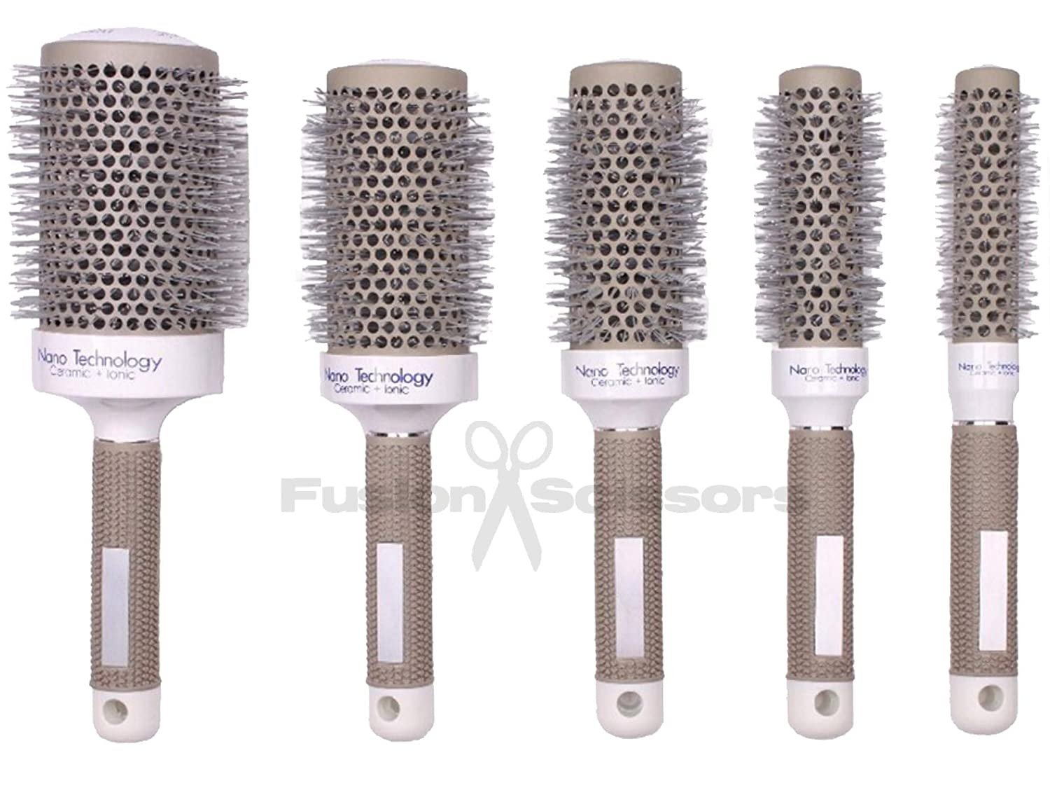 Salone di parrucchieri tondo Set spazzole in ceramica tecnologia ionica grigio (4pz) Hairdressers Salon Round Set Brushes Ceramic Grey Ionic Technology (4pcs)