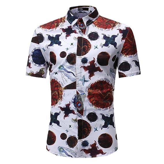 WINWINTOM Verano Diario Camisas De Hombre, Moda Estilo de Verano Camisetas, Hombres Moda Retro Floral Impresión Blusa Casual…