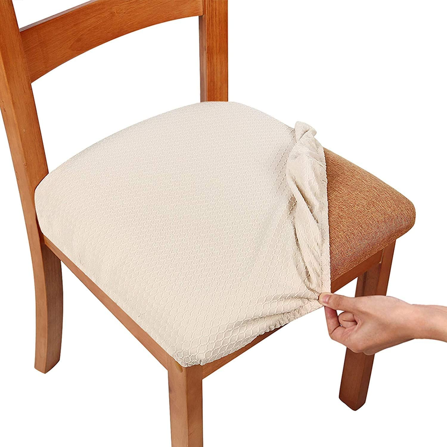 smiry Stretch Chair Seat Covers for Dining Room, Beige Set of 10 Jacquard  Dining Chair Seat Cushion Protectors Chair Slipcovers