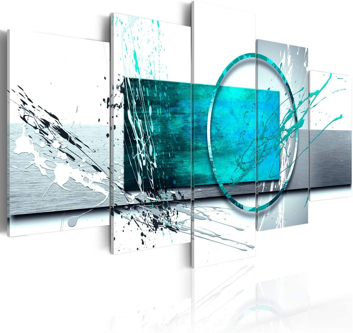 Large Turquoise Expression Abstract Wall Art 5 Panel Modern Teal Canvas Print Painting