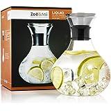 Zoe&Mii Premium 1.5L Glaskaraffe mit Edelstahl,Wasserkaraffe,Karaffe,Gratis 21 Getranke Rezepte,Glaskanne,Geschenke,Wasserkrug.