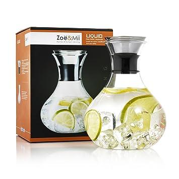 Zoe & Mii Premium 1.5L Botella de cristal con acero inoxidable, jarra de agua