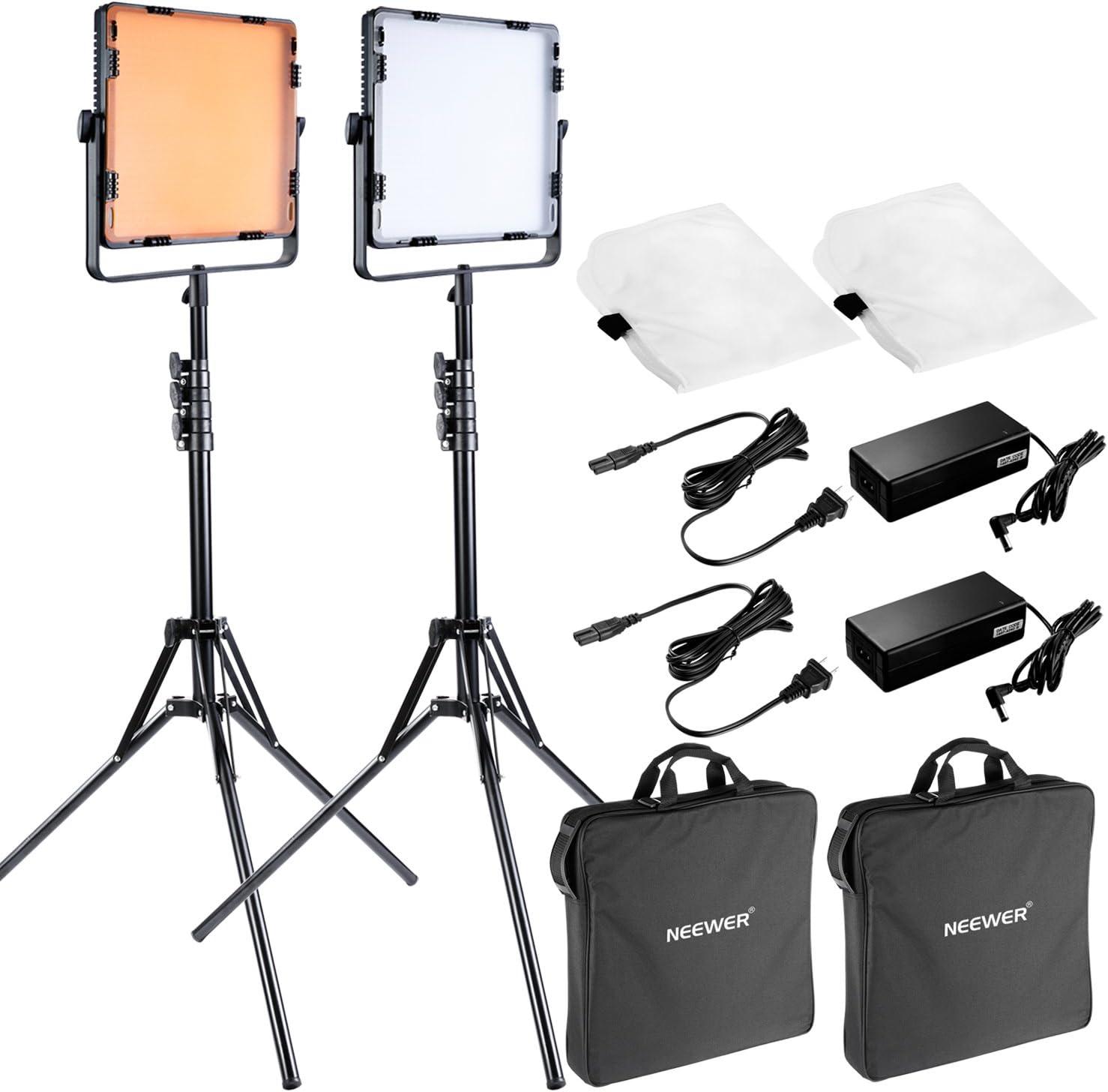 Neewer 650 LED Kit de iluminación de video continuo para fotografía de estudio de vídeo, incluye: (2) luz LED regulable, (2)79 pulgadas/200 centímetros soporte de luz, (2)difusor, (4)filtro, (2)bolsa de transporte: Amazon.es: Electrónica
