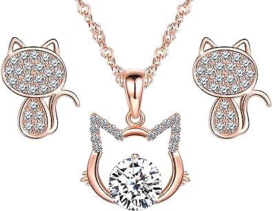 Lindo Collar de Gato, aretes de Gato, joyería de Diamantes de Plata ...