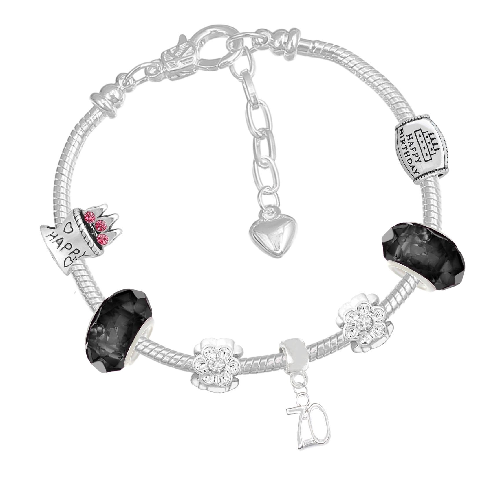 70th Birthday Good Luck Lucky Black Silver Pandora Style Bracelet With Charms Gift Box Jewelry by Charm Buddy (Image #1)