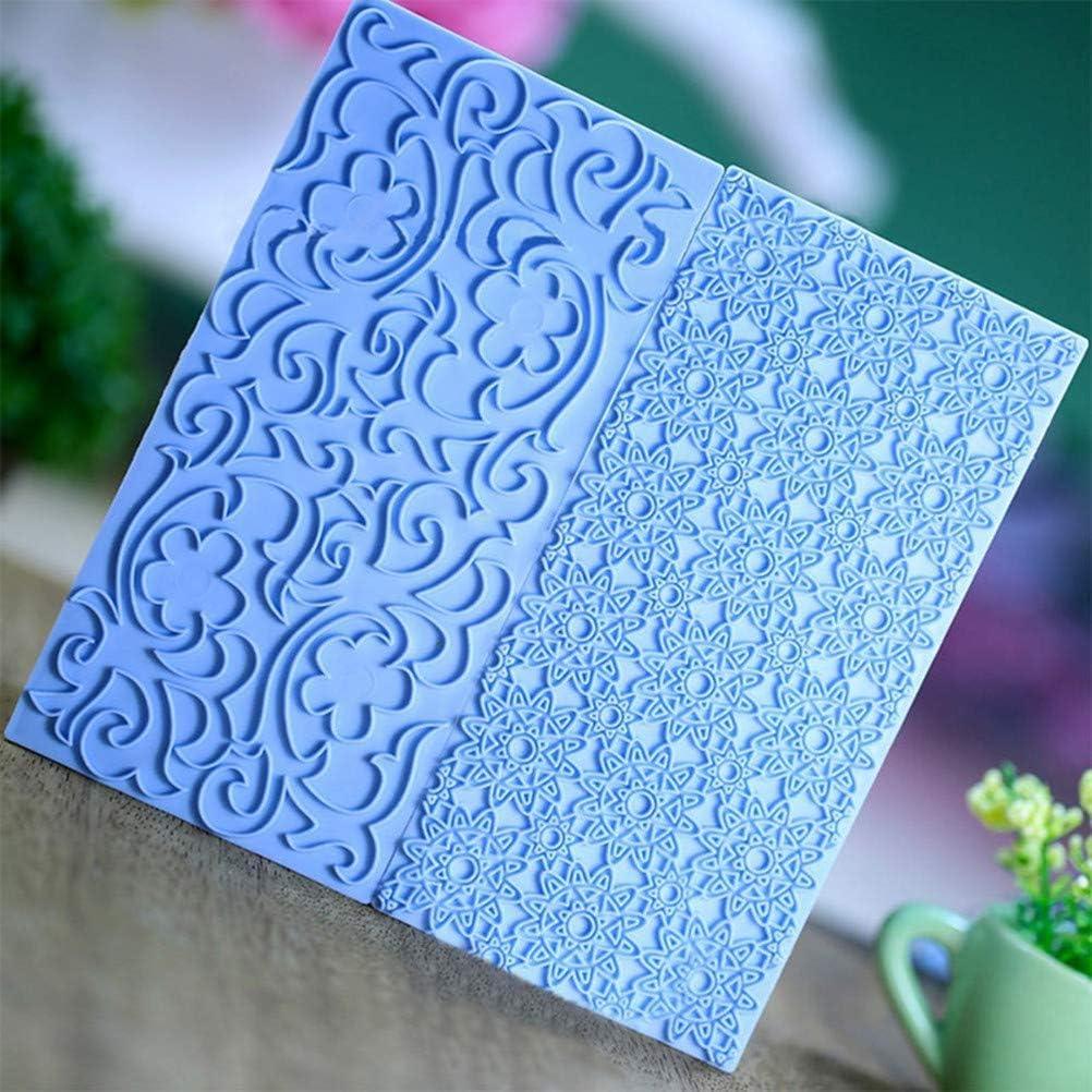 10 Pack Set Fondant Impression Mat,Embossed Tree Bark//Brick Wall//Flower//Cobblestone//Stone Wall Texture Design Fondant Impression Mat Mold Set,for Chocolate Cupcake Topper Wedding Cake