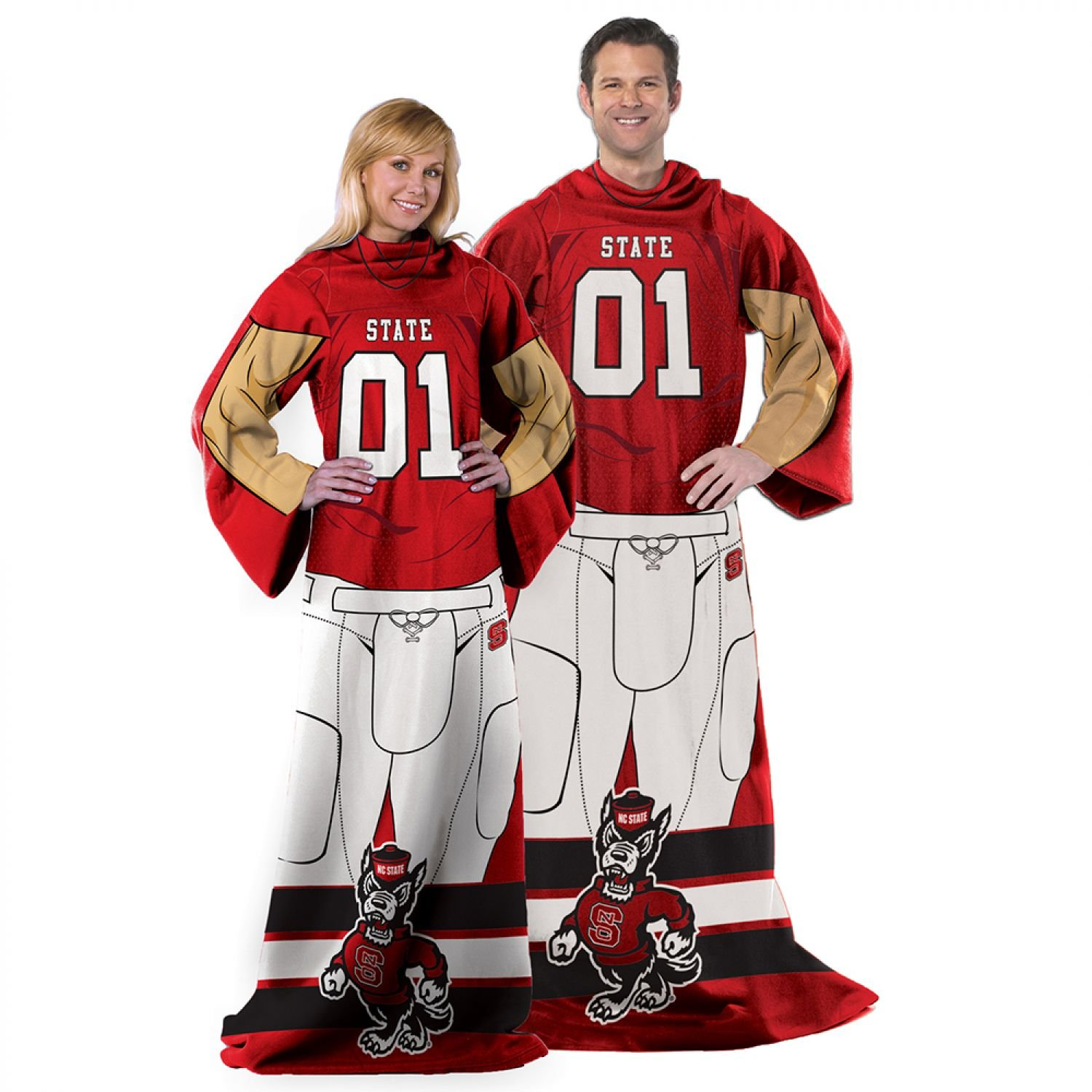 NCAA NC State Wolfpack Uniform Huddler Blanket With Sleeves by Northwest 5942403