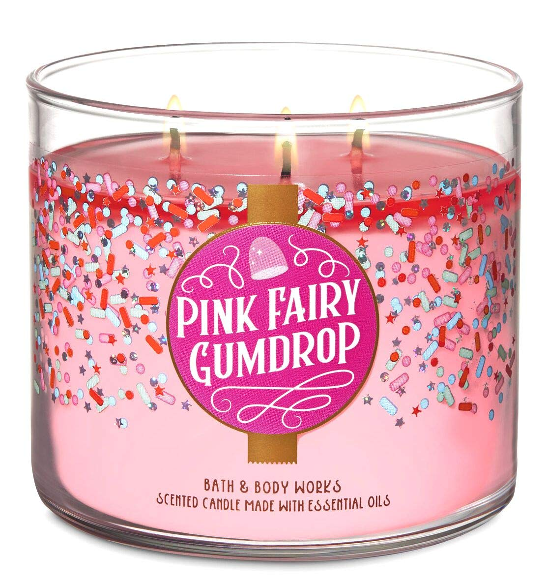 Bath and Body Works Pink Fairy Gumdrop Candle - Cotton Candy Scent - Large 14.5 Ounce 3-Wick - New for Christmas Holiday Land of Sweets Collection 2019