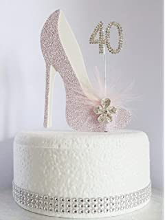 Swell 40Th Birthday Cake Topper Glamorous Lady In A Pink Dress And Funny Birthday Cards Online Necthendildamsfinfo