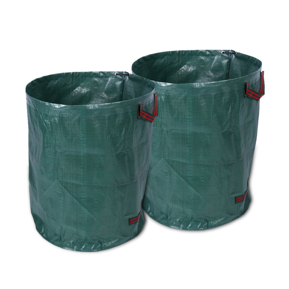 270 Litre Garden Waste Bag, Pack of 2, Folding Large Garden Waste Weeds Leaves Bin Refuse Sack Bag Rubbish Sacks Yosoo