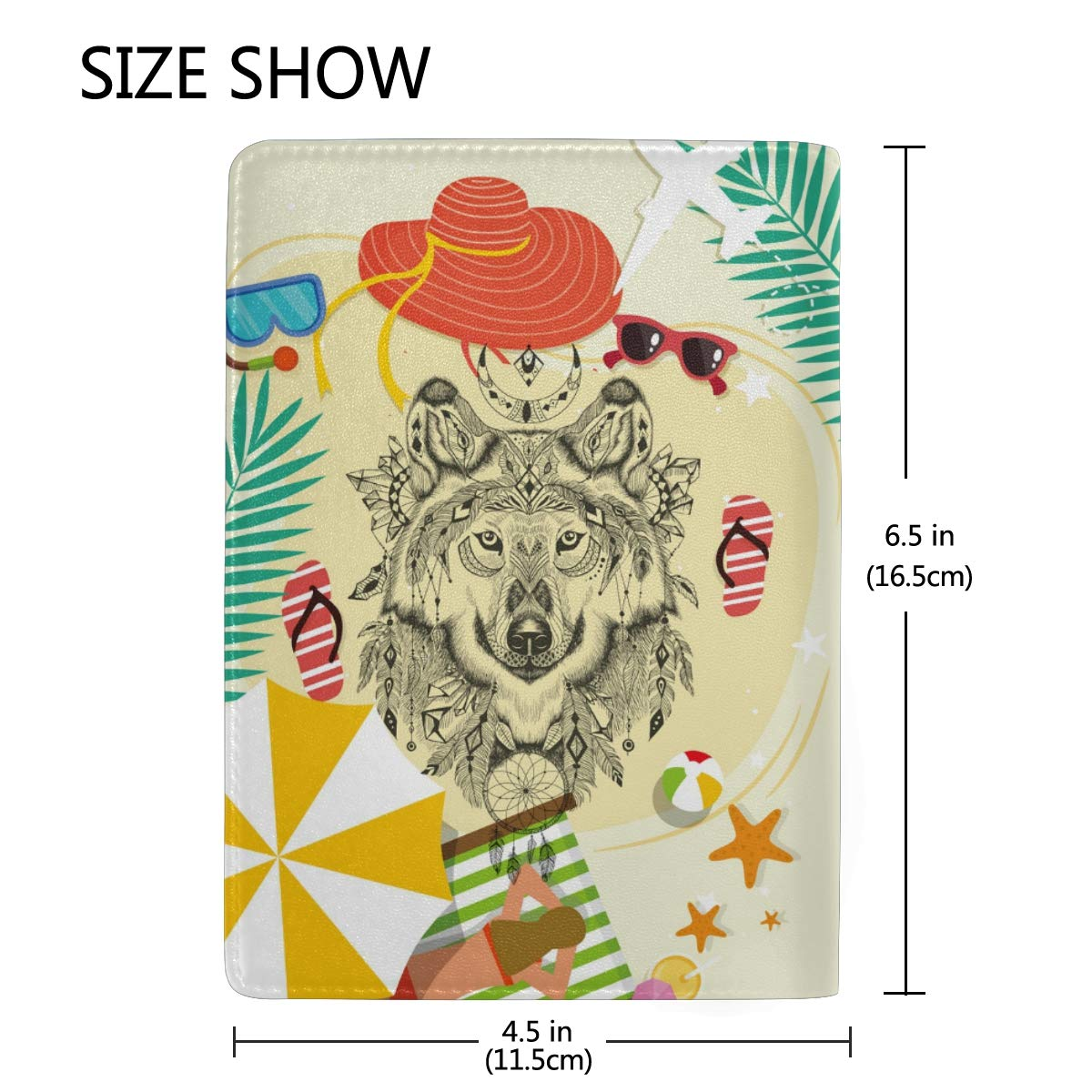 Cute Funny Wolf Real Leather Passport Holder Wallet Case Cover for Men Women