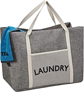 HOMEST Laundry Tote Bag, Large Heavy Duty Dirty Clothes Hamper, Storage Basket with Handles, Grey
