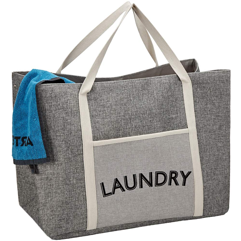 HOMEST Laundry Tote Bag, Large Heavy Duty Dirty Clothes Hamper, Storage Basket with Handles, Grey by HOMEST