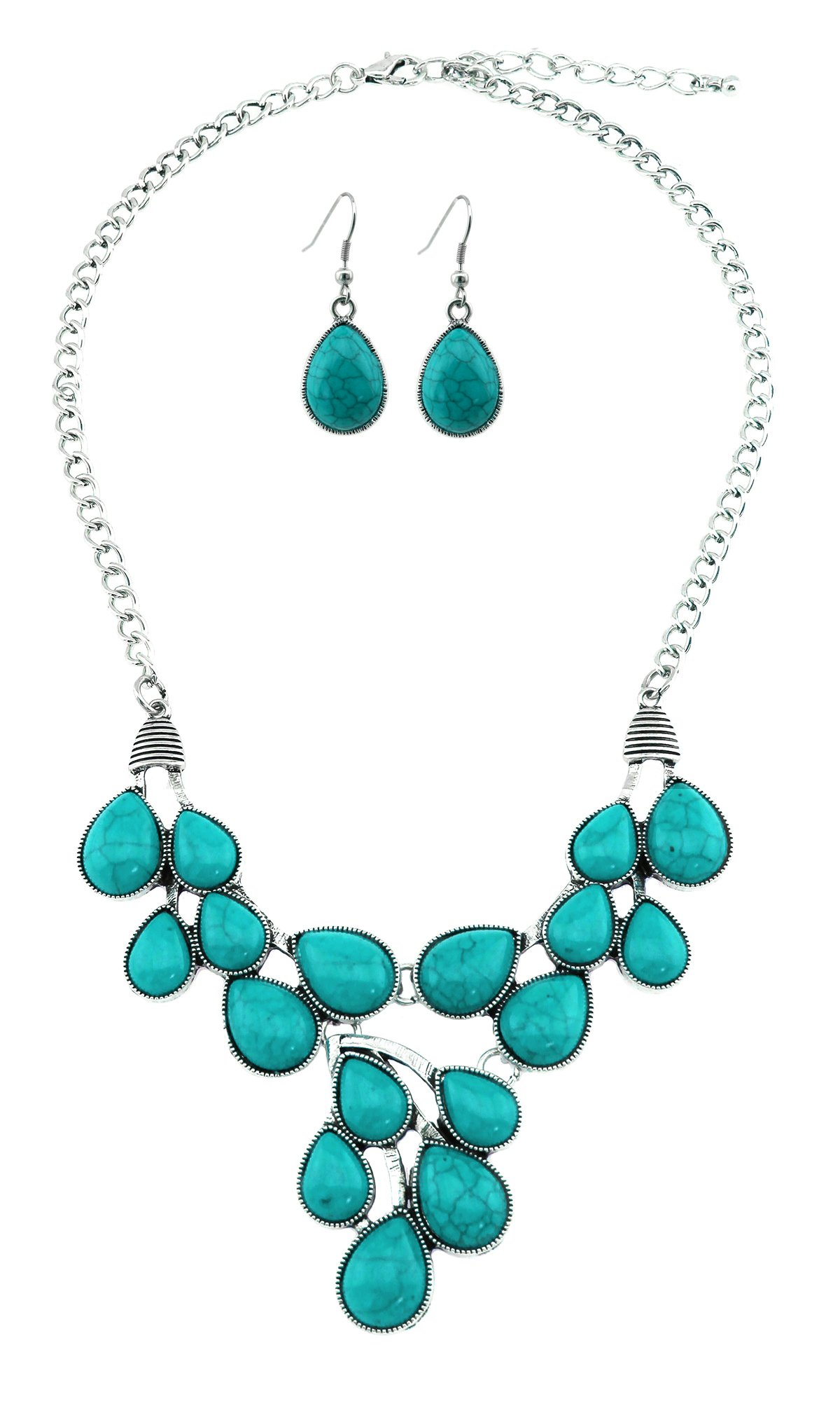 Turquoise Teardrop Cabochon Bib Necklace With Matching Earrings