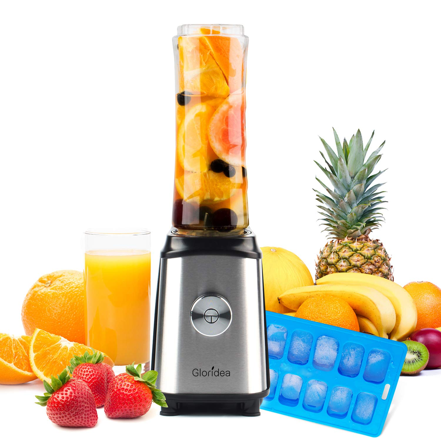 Personal Blender for Shakes and Smoothies - Powerful Drink Mixer with 20 Oz To Go Bottle, Single Use Juicer with Easy One Touch Operation, Great for Sports, Travel, Gym and Office (with Silicone Ice Cube Tray & Bottle Brush)