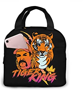 antspuent Tiger King Lunch Tote Washable Lunchbox Bag, Non-Toxic Insulated Lunch Bag with Extra Pocket for Office Picnic