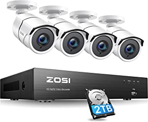 ZOSI 4K 8MP Ultra HD Security Camera System Outdoor,H.265+ 4K HD CCTV DVR with 2TB HDD,4pcs Wired 4K (8MP) Weatherproof Surveillance Cameras with 150ft Long Night Vision,Remote Access