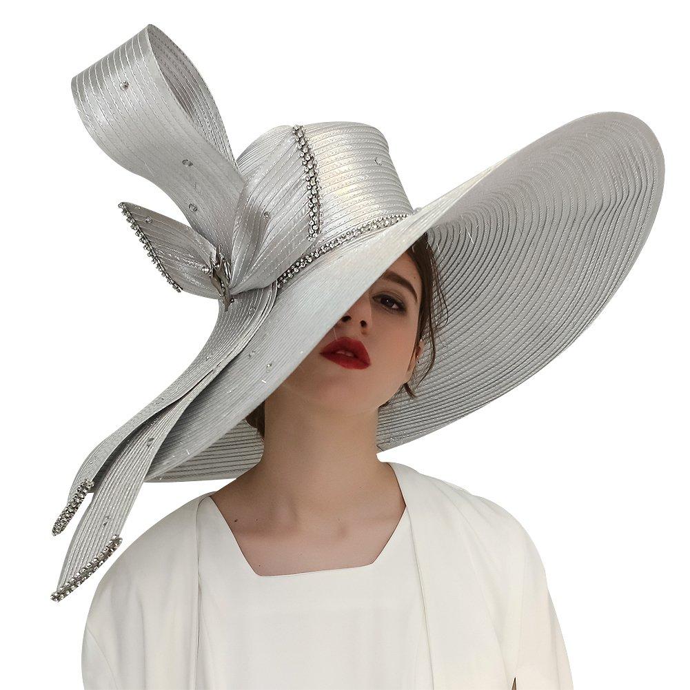 Kueeni Women Hats Hot Red Color Church Hats Lady Party Wear Fedoras Hats CHBM5#