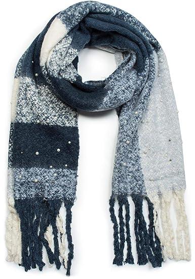 styleBREAKER Châle pour femme avec motif à carreaux, application en perles  et longues franges, 8d5b725a42d4