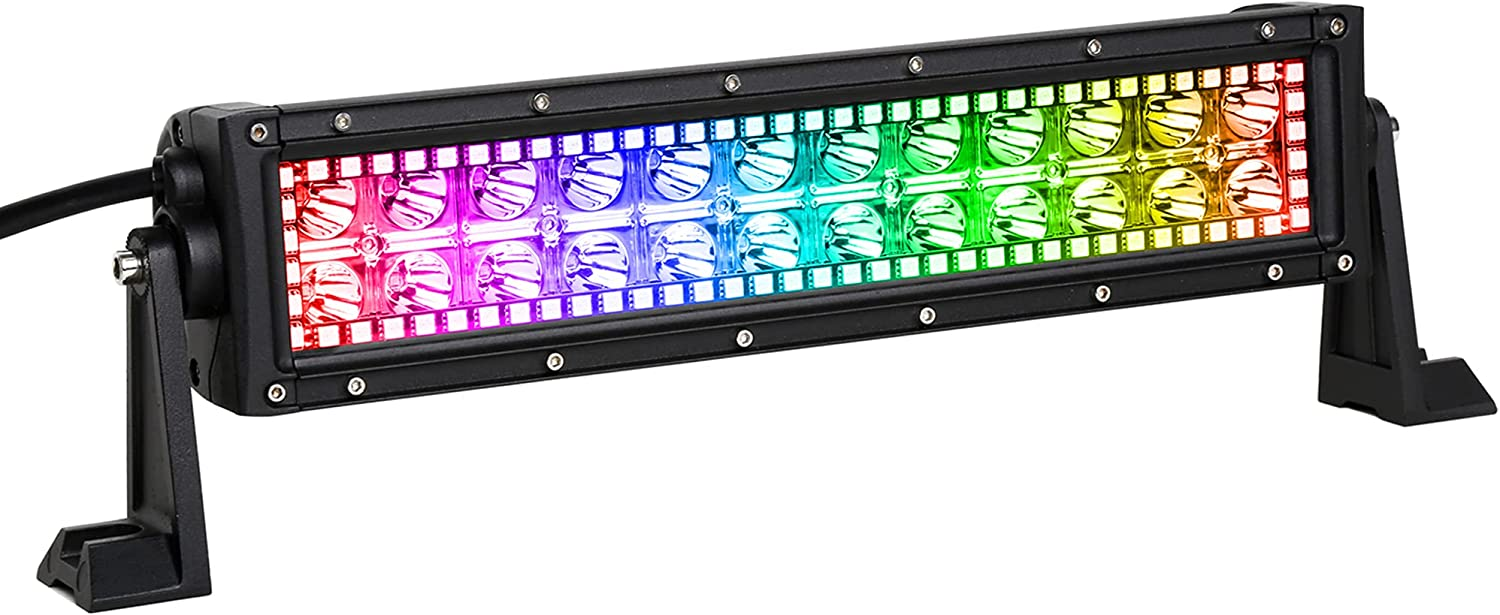 Nicoko 12inch 72w Spot Lights LED Light Bar with Chasing RGB Halo Strip remote&Bluetooth controlled Flashing Modes for atv Lights