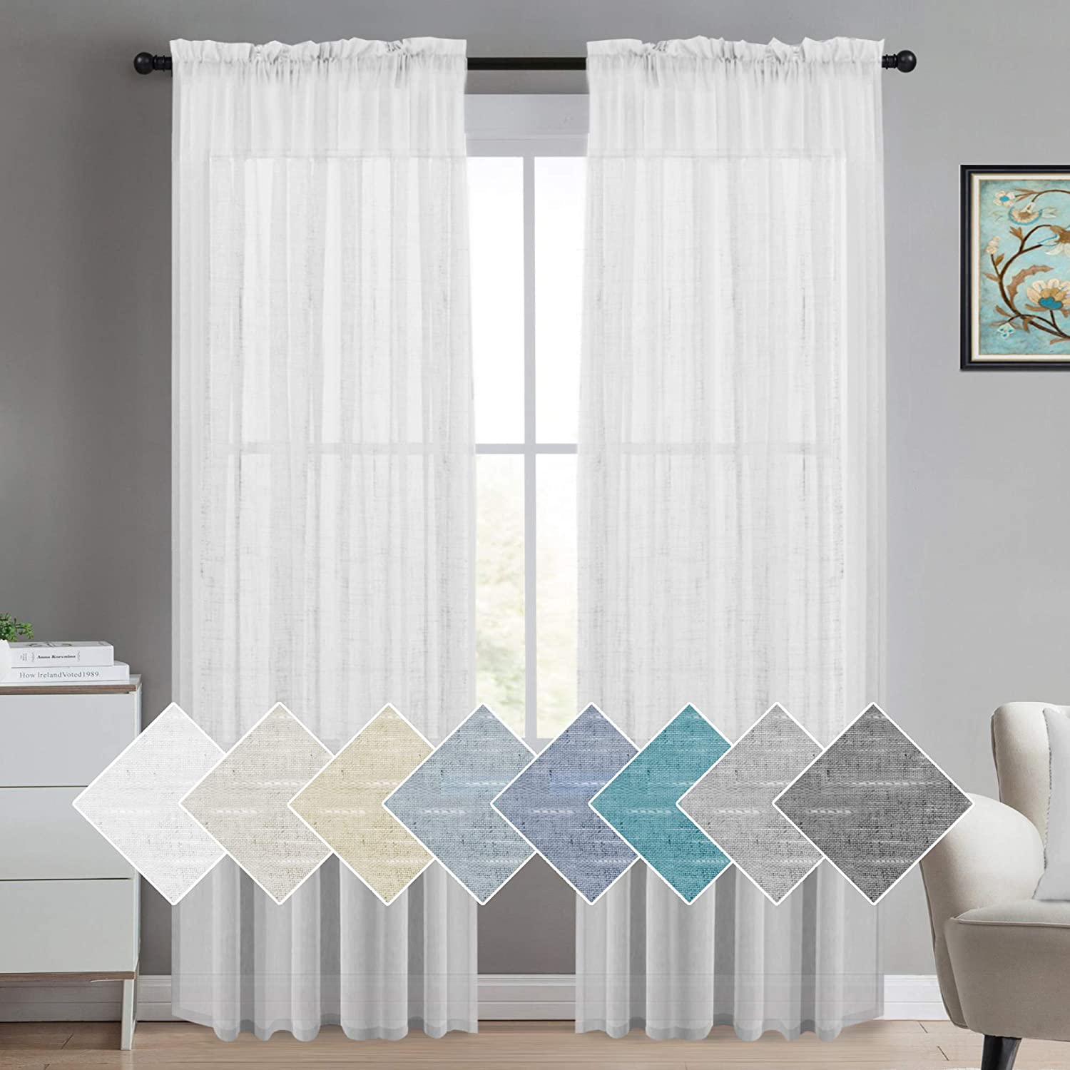 Sheer Linen Curtains 84 Inches White Linen Curtain Panels Natural Linen Blended Sheer Curtains Rod Pocket Sheer Curtains for Living Room, Light Filtering Linen Sheer Curtains (2 Panels, White)