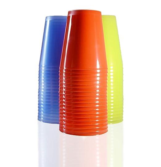 Pack Vasos de Plástico Sidra Reutilizables. Cantidad 75 Unids/Bolsa 25 de Cada Color. Cap. 480ml - Vasos de plástico para Fiestas, cumpleaños, etc.