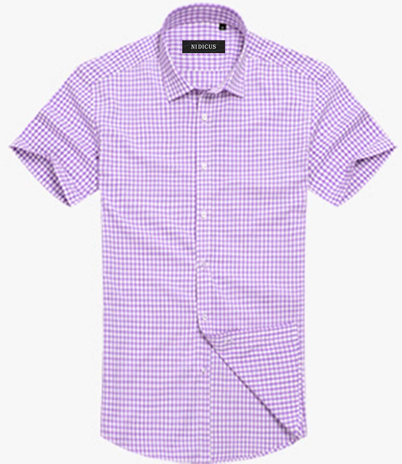 Nidicus Men Daily Formal Business Short Sleeve Checked Button Down Shirt