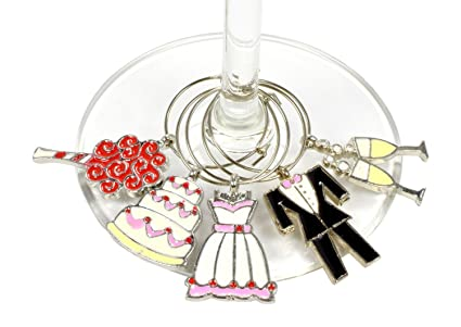 wedding wine charms set of 5 elegant gift for the bride to be