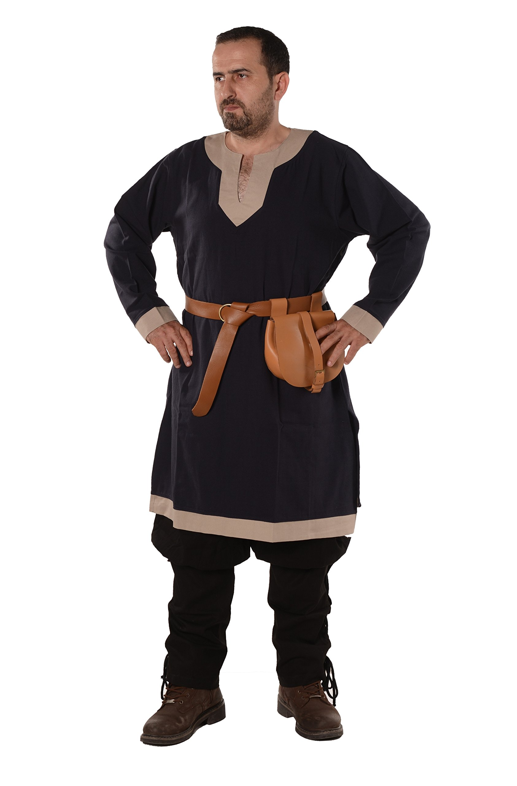 byCalvina - Calvina Costumes Calvina Costumes Arthur Medieval, Viking, LARP and Renaissance Tunic by Formen - Made in Turkey, XL-D.Blu/Bei by byCalvina - Calvina Costumes (Image #1)