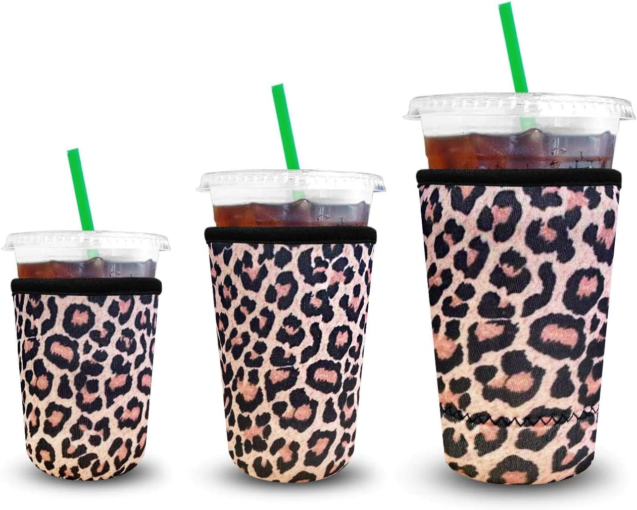 XccMe Reusable Iced Coffee Sleeves Neoprene Insulator Cup Cover for Cold Drinks,Beverages Holder,Ideal for Dunkin Donuts, Starbucks Coffee, McDonalds (Leopard, 3Pack Sm-Md-Lg)