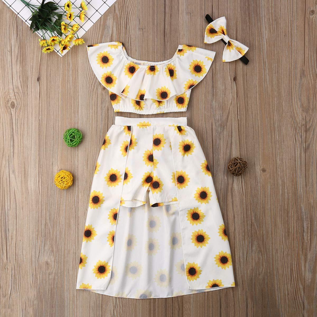 Kids Summer Clothes Set Toddler Girl Sunflower Skirts Set Ruffled Off Shouder Crop Top+Skirt Dress+Headband Outfit