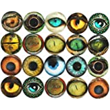 ZHU YU CHUN 20 Pcs Mixed Animals' Eye Printed Glass, Round Glass Cabochons for Jewelry Findings Cameo Pendant Making…