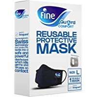 Fine Guard Comfort Adult Face Mask With Livinguard Technology, Black, Infection Prevention – Size Large