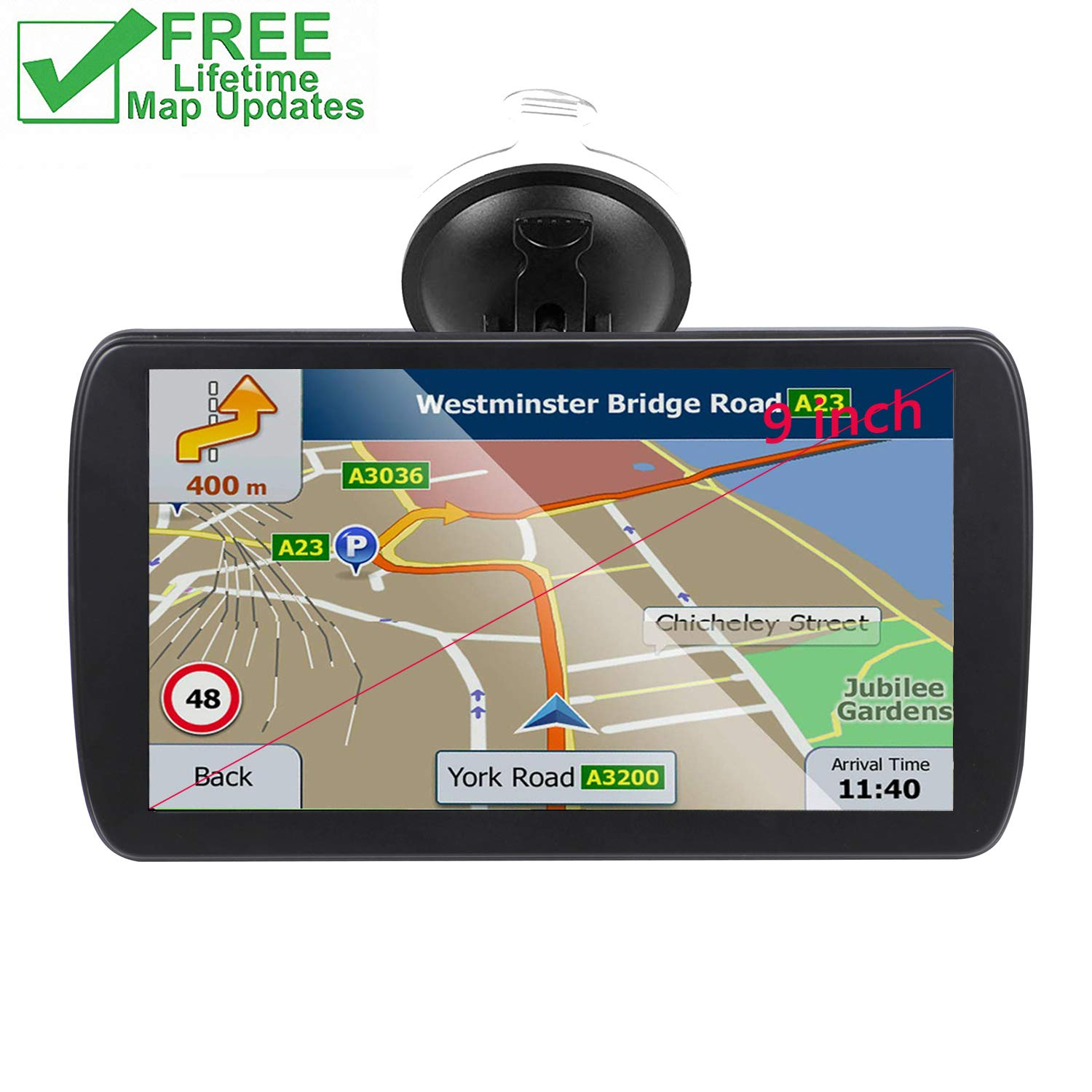 Car GPS, 9 inch Portable Navigation System for Cars, Lifetime Map Updates, Real Voice Turn-to-Turn Alert Vehicle GPS Sat-Nav by Highsound